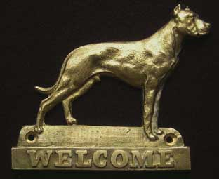 Dogo Argentino welcome plaque hanger