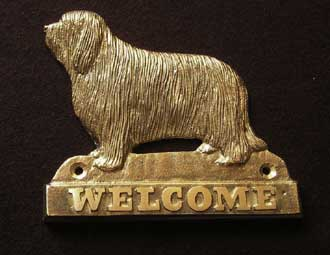 Bearded Collie welcome plaque hanger