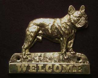 French Bulldog welcome plaque hanger