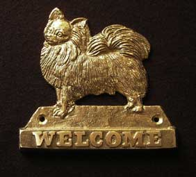CHIHUAHUA LONG HAIRED welcome plaque hanger