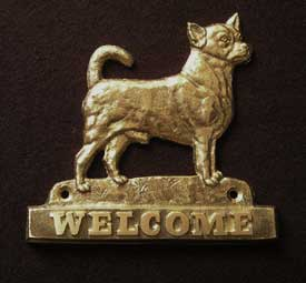 welcome plaque hanger CHIHUAHUA SMOOTH HAIRED