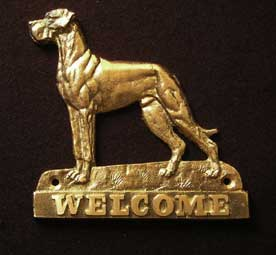 welcome plaque hanger GREAT DANE UNCROPPED