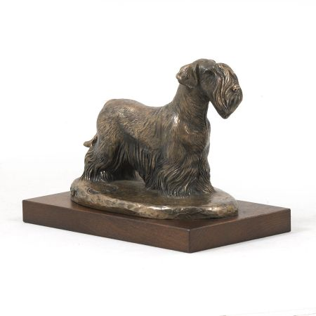 Cesky Terrier statue on wooden base