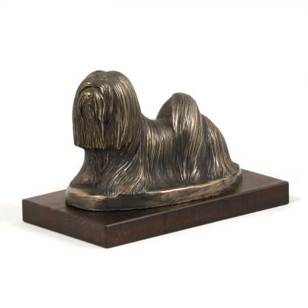 Lhasa Apso statue on wooden base