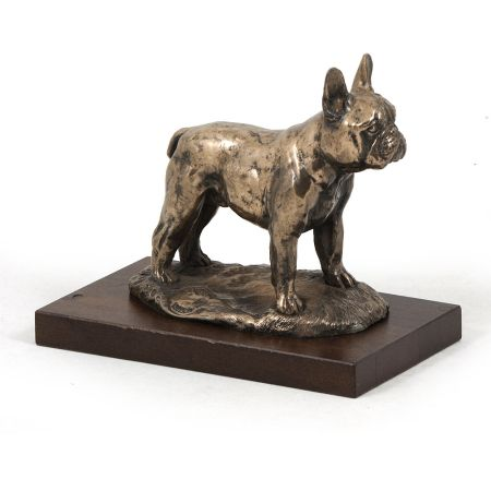 French Bulldog statue on wooden base
