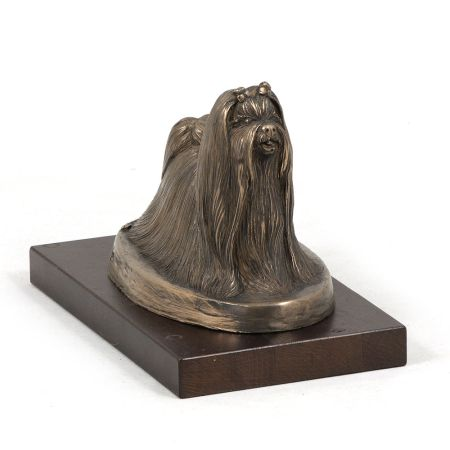 Maltanese Dog statue on wooden base