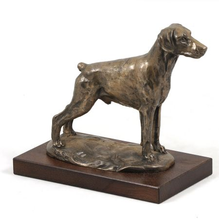 Doberman uncropped statue on wooden base