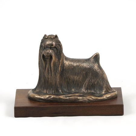 Yorkshire Terrier statue on wooden base