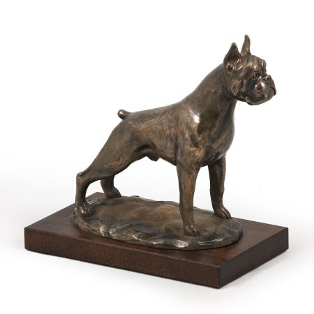 Boxer statue on wooden base