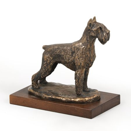 Schnauzer cropped statue on wooden base