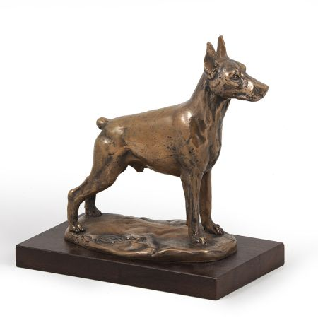 Doberman cropped statue on wooden base