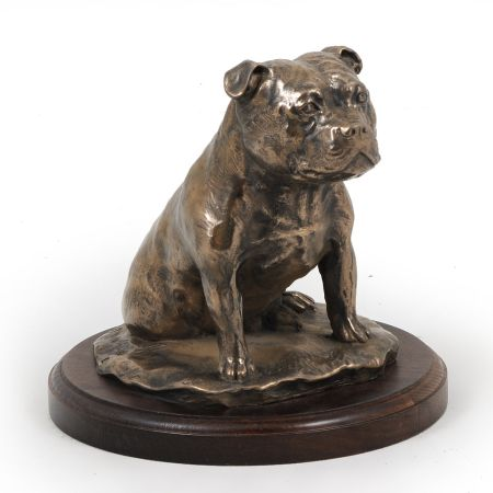 Staffordshire Bull Terrier statue on wooden base