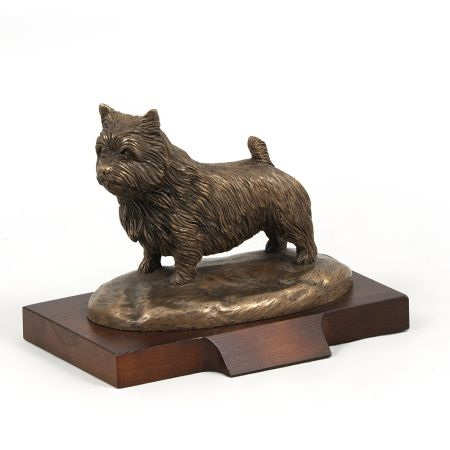 Norwitch Terrier statue on wooden base