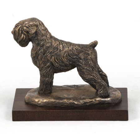 Black Russian Terrier statue on wooden base