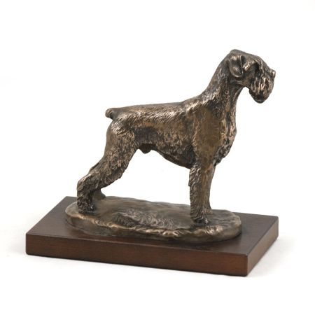 Schnauzer uncropped statue on wooden base