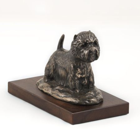 West Highland White Terrier statue on wooden base