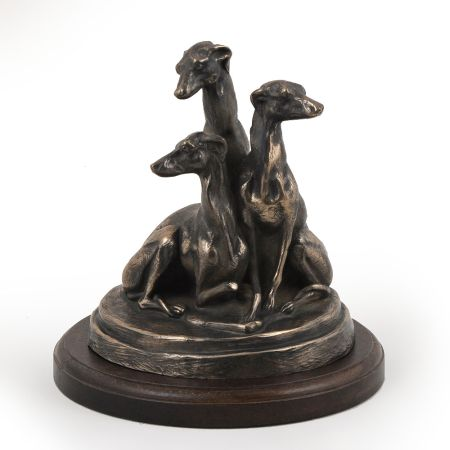 Whippet statue on wooden base