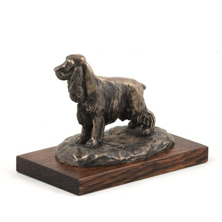English Cocker Spaniel statue on wooden base