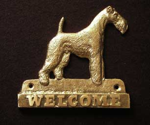 welcome plaque hanger FOXTERIER WIREHAIRED