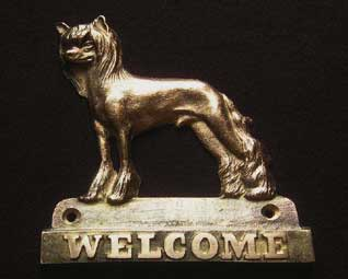 welcome plaque hanger CHINESE CRESTED DOG