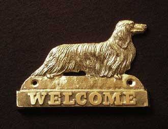 welcome plaque hanger DACHSHUND LONG HAIRED