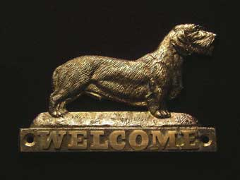 welcome plaque hanger DACHSHUND WIREHAIRED