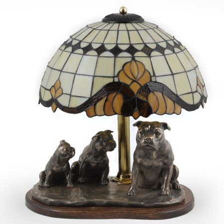 Staffordshire Bull Terrier lamp tiffany shape