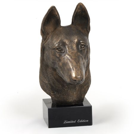 Malinois statue on marble base