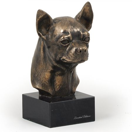 Chihuahua statue on marble base