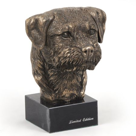 Border Terrier statue on marble base