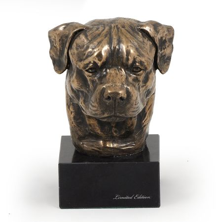 Rottweiler statue on marble base