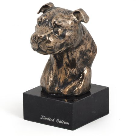 American Staffordshire Terrier statue on marble base