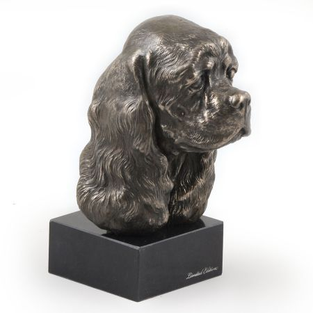 American Cocker Spaniel statue on marble base