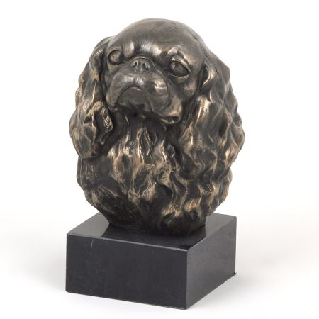 Cavalier King Charles Spaniel statue on marble base