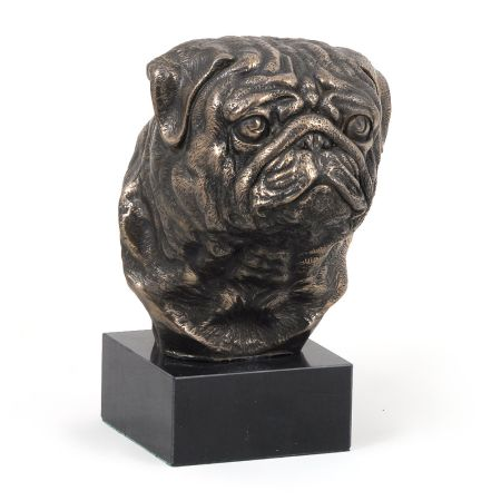 Pug Mops statue on marble base