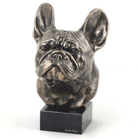 French Bulldog statue on marble base