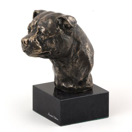 Staffordshire Bull Terrier statue on marble base