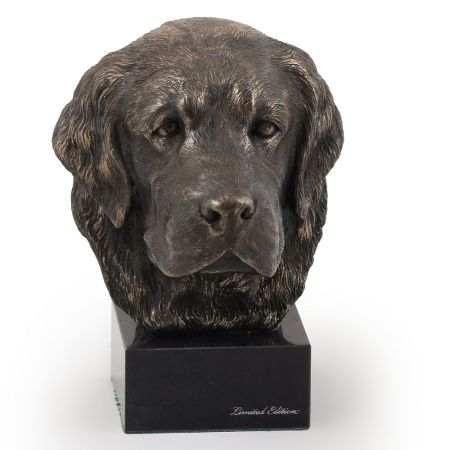 Golden Retriever statue on marble base
