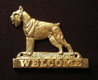 welcome plaque hanger SCHNAUZER CROPPED