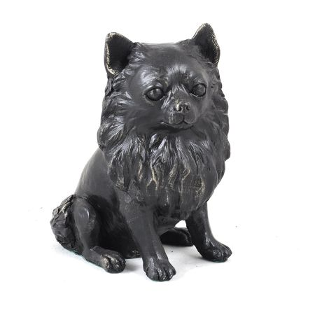 chiuahua long haired bronze statue
