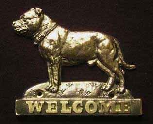 welcome plaque hanger STAFFORDSHIRE BULL TERIER